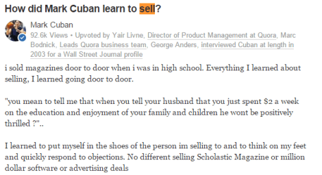 Mark Cuban business and sales advice
