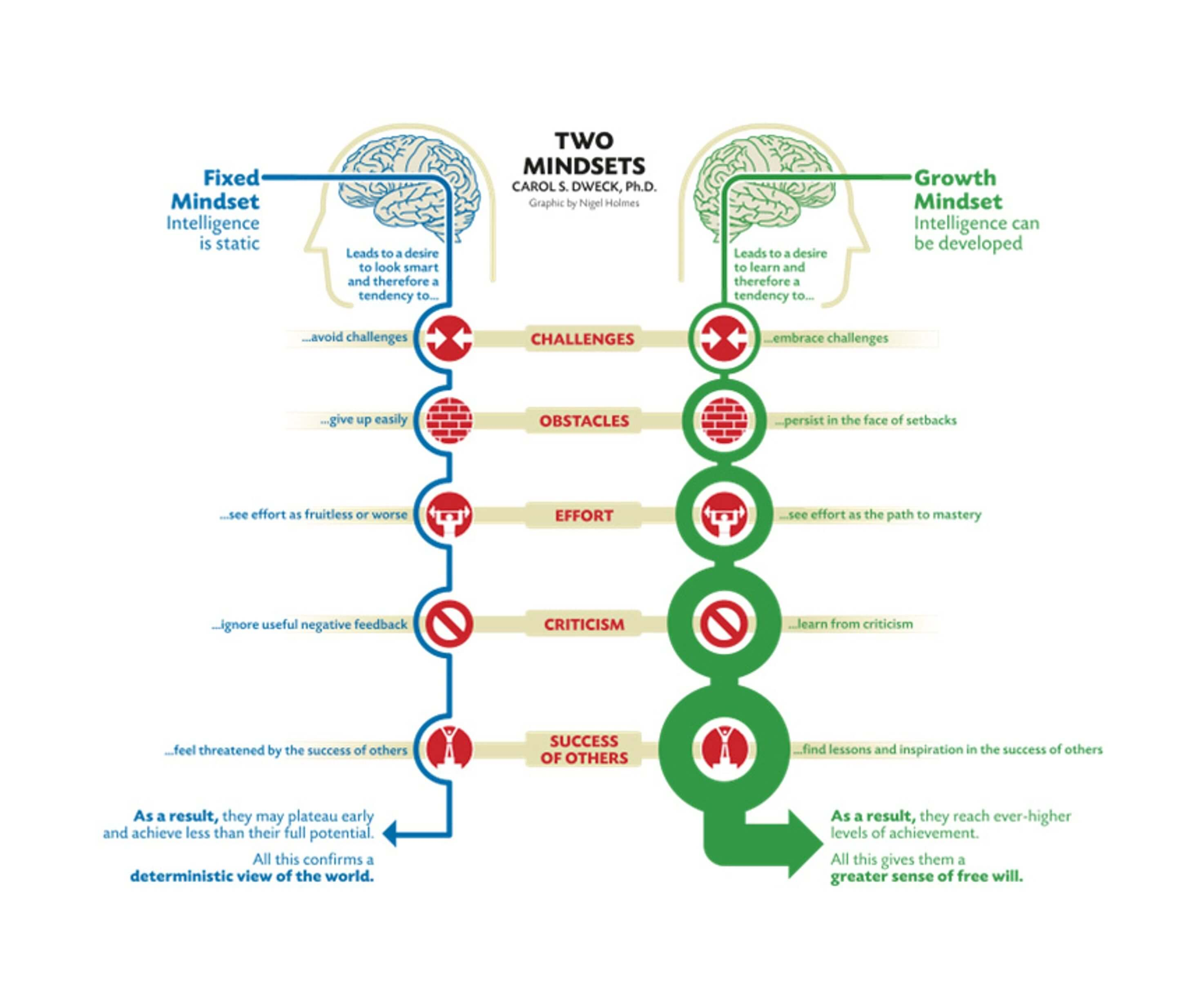 Mindset the psychology of success by carol dweck infographic